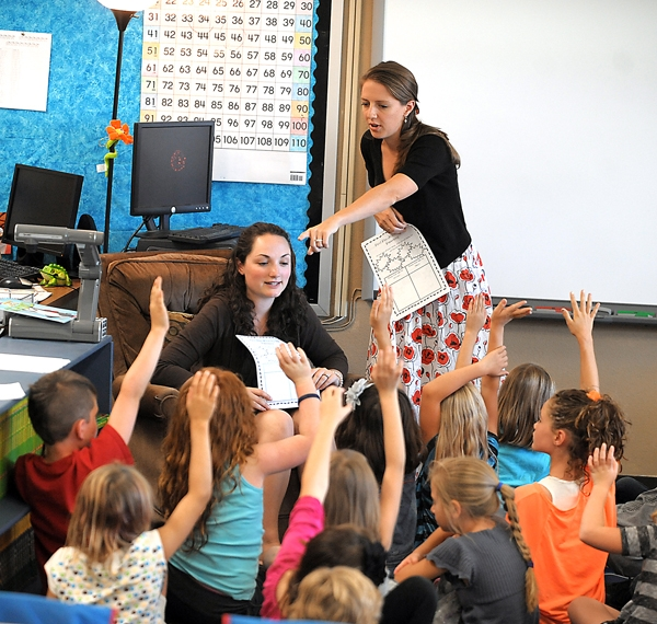 Brenda Ahearn/Daily Inter Lake Stephanie Kolar, left, and Lauren Beach, team teaching the second grade at Peterson Elementary on Wednesday, August 29, in Kalispell.
