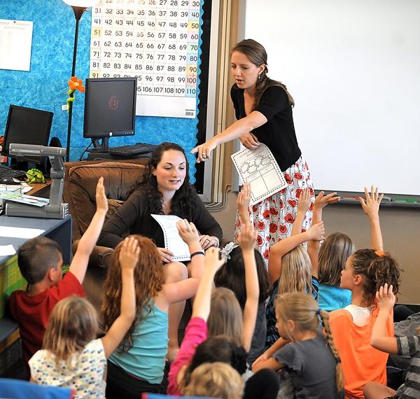 Brenda Ahearn/Daily Inter Lake Stephanie Kolar, left, and Lauren Beach, team teaching the second grade at Peterson Elementary on Wednesday, August 29, in Kalispell.